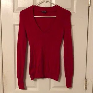 Red Express Long-Sleeved V-Neck Sweater